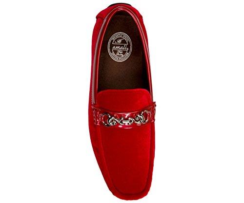 Amali Heren Fluweel Loafer Smoking Slippers In Paisley En Effen Ontwerpen Stijlen Roberto Piero Rood / Solide