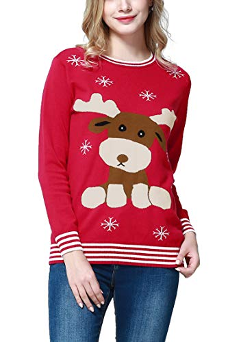 Dance Fairy Molliya Women's Christmas Sweater Long Sleeve Knitted Reindeer Snowflakes Pullover Sweater