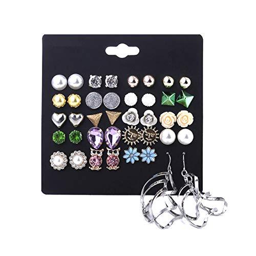 Spiritlele 20 Pairs Pearl Crystal Owl Flower Stud Earrings Set Spiral Danling Earrings for Women Girls (20 Spiral)