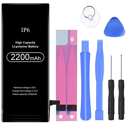 2200mAh Battery Replacement Compatible with iPhone 6,High Capacity Li-Polymer Rechargeable Battery with Complete Repair Tool Kit Adhesive and Instructions - 24 Months Warranty (gm-198-6)