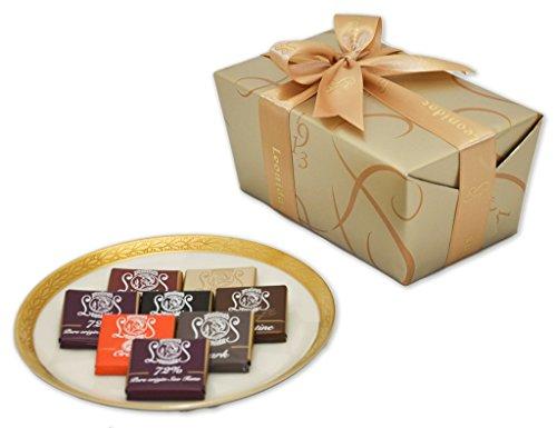 Leonidas Belgian Chocolates: 1 lb Napolitain Sampler Ballotin - Orange, Nibs, Feuilletine, 72% Pure Origin Sao Tome, Milk, White, and Dark Chocolate Squares (Two Chocolate Belgian)