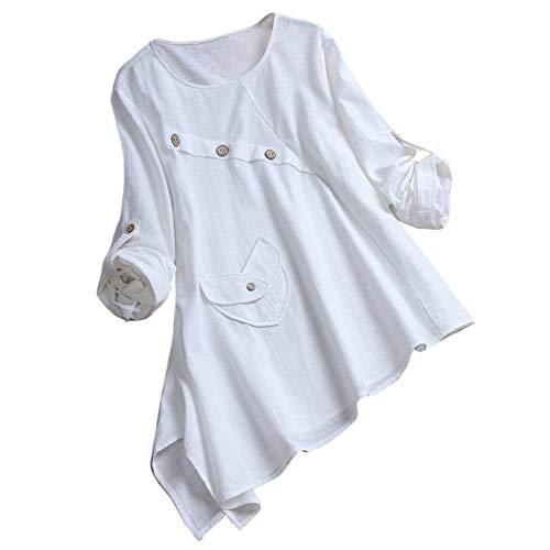 (Willow S Women Casual 2019 Asymmetrical Long Sleeve Irregular Hem Buttoned Plus Size Line Swing T-Shirt Top Blouse White)