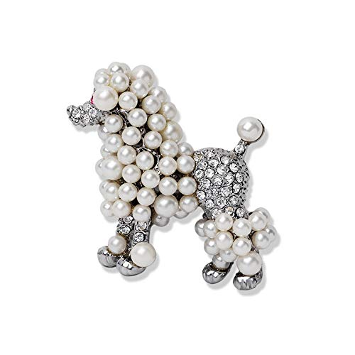 (Ajojewel Cute Simulated Pearl Poodle Dog Brooch Pin Rhinestone Animal Lapel Collar Jewelry Accessories (Pearl Dog) X689)