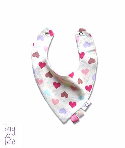 Baby Neckerchief, Baby Bandana Bib, Baby Girl Bibdana, Heart Print, Snap Bib, Teething Bib