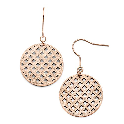 Stainless Steel Rose IP-plated Polished & Laser-cut Circle Dangle Earrings 24mm x 44mm