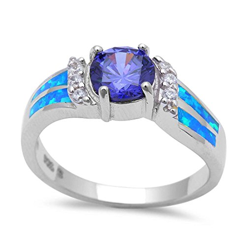 Halo Engagement Ring Lab Created Blue Opal Simulated Tanzanite Round Cubic Zirconia 925 Sterling - Opal Tanzanite Fire Ring