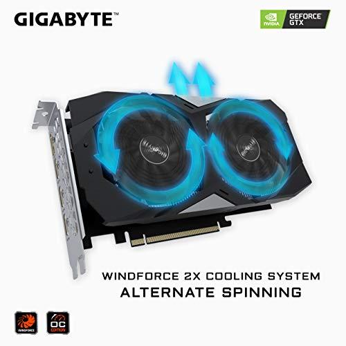 GIGABYTE GeForce GTX 1660 Ti Windforce OC 6G 192-bit GDDR6 DisplayPort 1.4 HDMI 2.0B with Windforce 2X Cooling System Graphic Cards- Gv-N166TWF2OC-6GD
