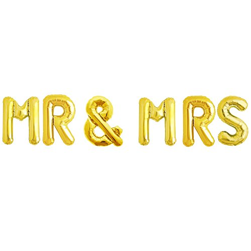 MR & MRS Foil Letter Balloons 3D 16