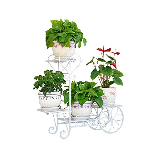 "(4 Tiers Garden Cart Plant Stand Indoor Outdoor Metal Flower Pot Plant Holder Display Rack Décor for Home, Living Room, Patio, Balcony, Black, 29.1""x10.2""x 28.3"" (1 White))"