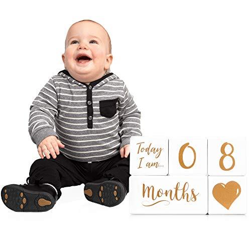 Baby Milestone Blocks for Boys or Girls - Baby Age Block Photo Prop - Premium Solid Wood Keepsake Months Blocks! - Newborn Infant Monthly Photography Nursery Decor- Gender Neutral