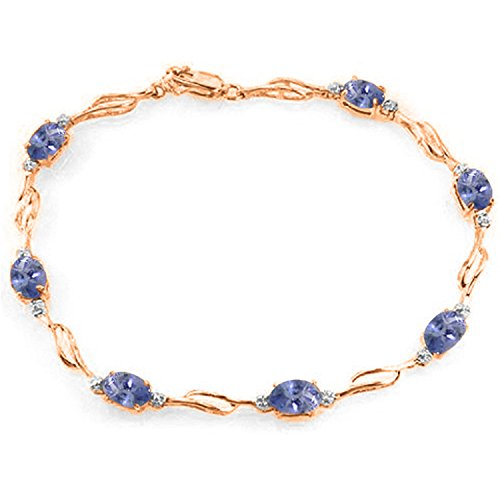 - 14K Solid Rose Gold Tennis Bracelet withTanzanite & Diamonds