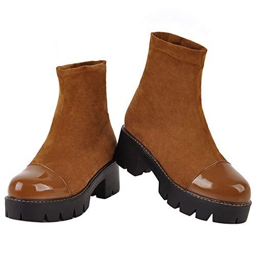 Kurzschaft Ankle Stiefeletten AIYOUMEI High Gelb Stretch Heels Boots Stiefel Blockabsatz Plateau aIx1d7wx