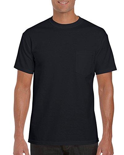 Gildan Men's 2-Pack Workwear Pocket T-Shirt, Black, Large (Chest T-shirt Pocket Gildan)