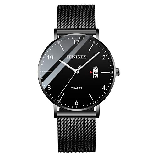 Men's Watch Unisex Slim Minimalist Watch Waterproof Watch Classic Gift Net with Black Face - 6mm (Silver Pointer)