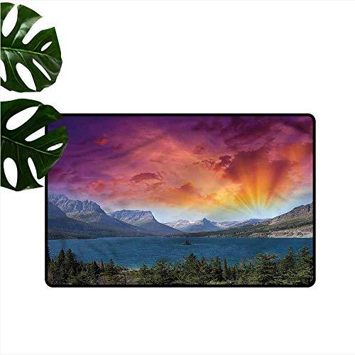 DONEECKL Non-Slip Door mat Yosemite Dramatic Colorful Sky Lake Non-Slip Door mat pad Machine can be Washed W16 xL24