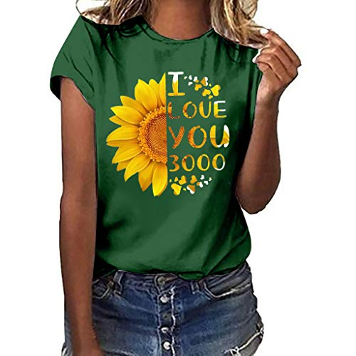(Sunflower Print Clothes Women,LYN Star❀ Summer Short Sleeve Loose Casual O-Neck Floral T-Shirt Tops I Like You 3000 Tops )