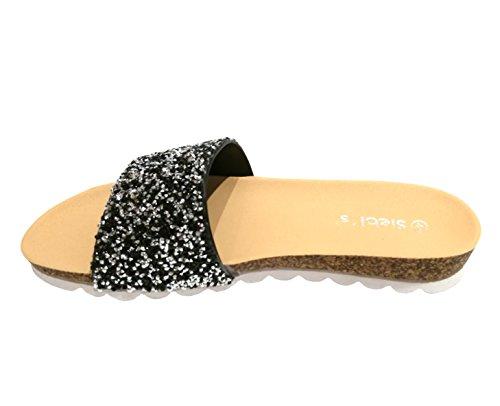 Femmes Chaussures Amalfi De Plage Piscine Tongs Mules Siebi's Noir xgO6nqT00