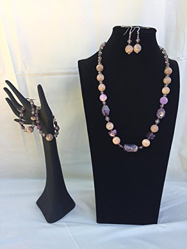 Dramatic handmade jewelry set with a necklace, two bracelets and matching dangle earrings. Amethyst and mixed gemstones. One of a kind by The Stonz Project