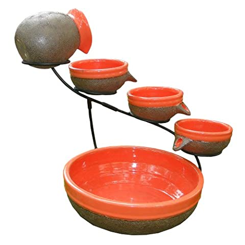 Smart Solar 23964R01 Ceramic Solar Cascade Fountain with Tangerine and Rustic Brown Finish, Powered By An Included Solar Panel That Operates An Integral Low Voltage Pump With - Smart Solar Fountain