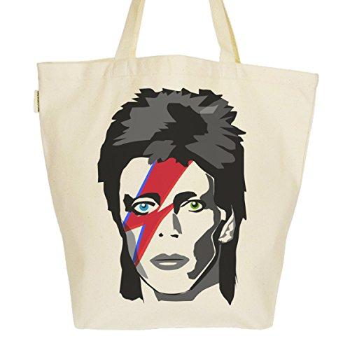 Grand Sac Cabas Fourre-tout Imprimé Toile Bio 37x45x20cm Tote Bag XL - David Bowie Major Tom
