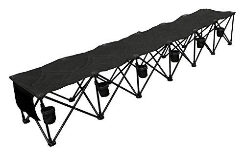 GoTeam 6 Seat Portable Folding Team Bench – Black