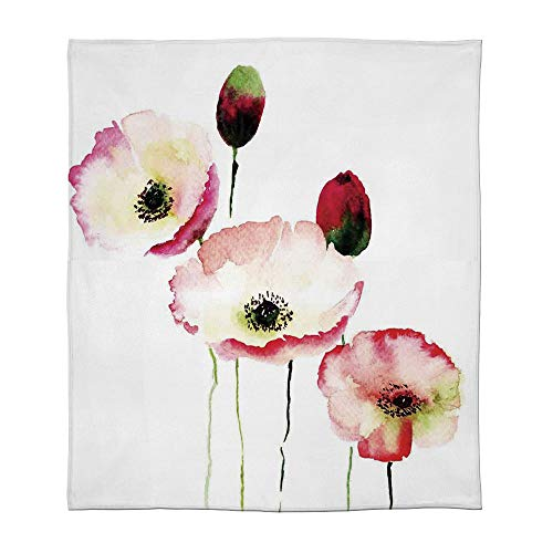 - YOLIYANA Lightweight Blanket,Poppy,for Bed Couch Chair Fall Winter Spring Living Room,Size Throw/Twin/Queen/King,Stylised Different Sized Poppy Flowers Revival Growing