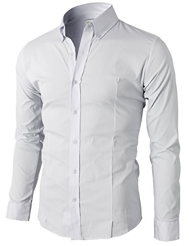 H2H Mens Casual Slim Fit Short Sleeve Winkle Free Button Down Shirt White US M+/Asia 2XL (KMTSTL0489)