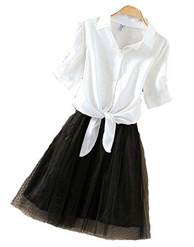 プラスチック相反するチューブKimBerley 2点セット シャツ チュールスカート インナー ワンピース 前結び ブラウス カジュアル レディース キャバ嬢 セクシー ファッション