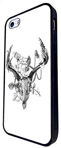 100 - Animal Skull Horns And Leaves Design iphone SE - 2016 Coque Fashion Trend Case Coque Protection Cover plastique et métal - Noir