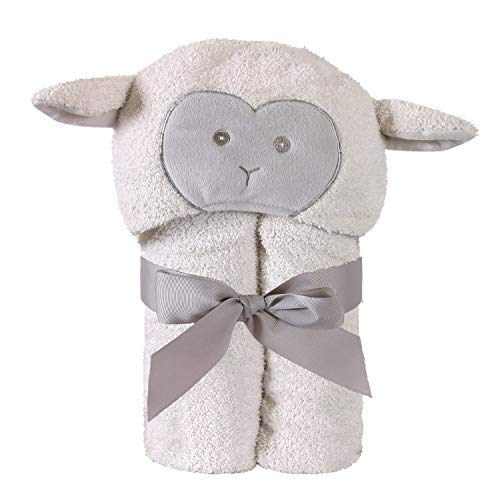 Lamb Soft White 38 x 29 Polyester Terry Plush Fabric Hooded Baby Bath Towel