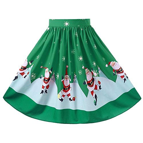 Sunhusing Ladies Christmas Festival Santa Printed Swing Hem Zipper A-Line Loose Skirt