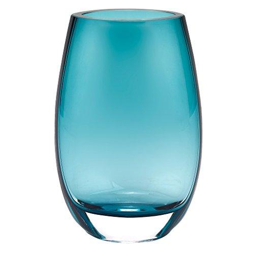 Badash - Crescendo European Mouth Blown Crystal Peacock Blue 7.5 in Vase