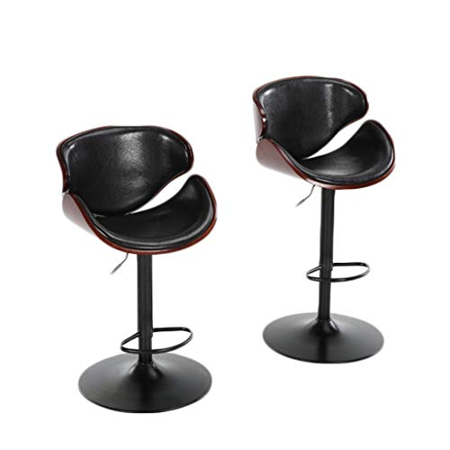 - Chenway Cushion Stool Bar Set of 2 Adjustable with Back Rotatable Counter Height Swivel Stool 24 Inches -32 Inches (Black)