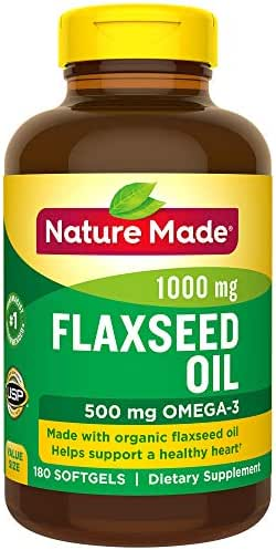 Nature Made Flaxseed Oil 1000 mg Softgels - Made w. Organic Flaxseed Oil
