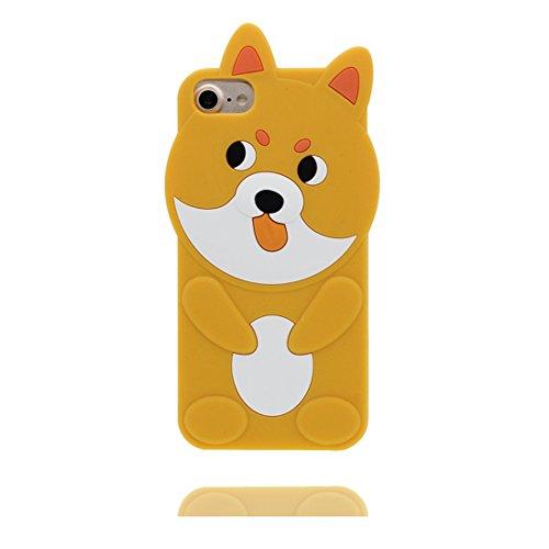 """iPhone 7 Handyhülle, iPhone 7 Hülle Cover 4.7"""", [3D Cartoon Hund Cute Ears Dog] Gel-Shell TPU flexibles Shell iPhone 7 case 4.7"""" Staub Kratzer beständig gelb"""