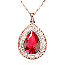 Simulated Red Ruby Crystal Teardrop Necklace Valentine's Day Gift Party Wear 18ct Gold Plated