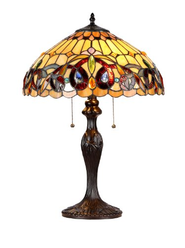 Chloe Lighting CH33353VR16-TL2 Serenity Tiffany-Style Victorian 2-Light Table Lamp with Shade, 22.4 x 15.7 x 15.7 , Brown Yellow