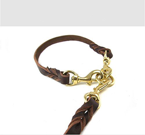 OCSOSO Dual Double Dog Leash No-Tangle Geniue Leather Braided Lead for Two Medium Large Dogs (M) by OCSOSO (Image #3)