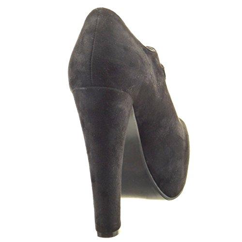 Sopily - Zapatillas de Moda Botines zapatillas de plataforma abierto Tobillo mujer Hebilla Talón Tacón ancho alto 13 CM - Negro