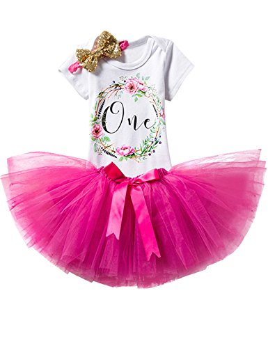 TTYAOVO Girl Newborn 3pcs Baby's 1st Birthday Set/Outfits with Romper + Tutu Dress + Headband Size 1 Years Rose(with Flower)