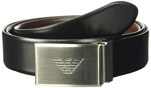 Emporio Armani Men's Smooth Leather Plate Belt, Brown, ONE SIZE (Belt Armani Leather)