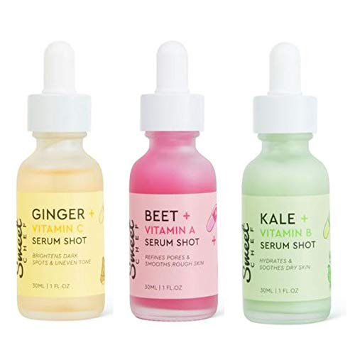 Sweet Chef 3 Bottles Face Serum Set! Vitamin C, Vitamin B and Vitamin A! Vitamin A with Turmeric Root Extract! Vitamin B with Aloe Barbadensis Flower Extract! Vitamin A with Sea Berry Fruit Extract!