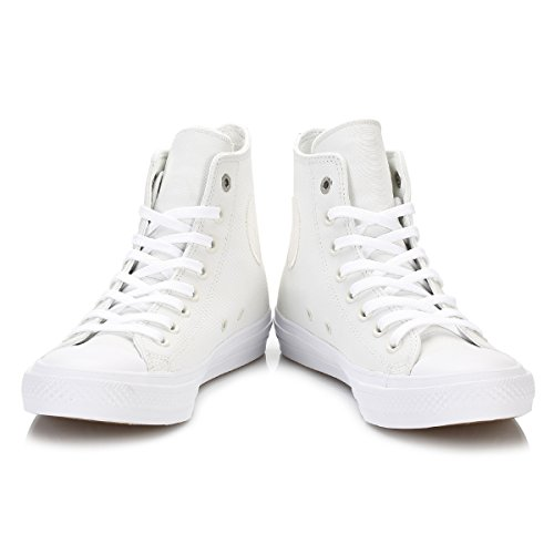Converse Womens Chuck Taylor All Star II Hi White Leather Trainers 36.5 EU