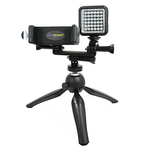 Livestream Gear - Smartphone & LED Light Tripod Setup for Streaming or Video, to Fit Large/Jumbo Sized Devices. Also Works with Sport Cameras. Multiple Orientations for Use. (Lg. Device & LED Tripod) by Livestream