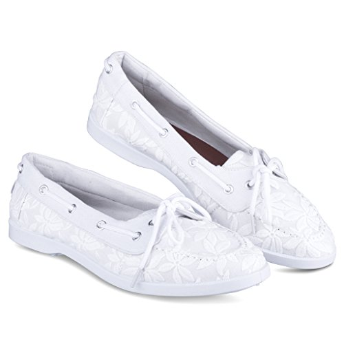 Twisted Womens Bonnie Floral Canvas Boat Shoe White kGzAhHWwf