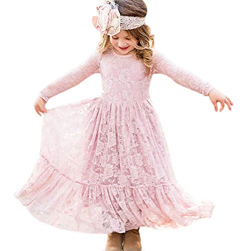(CQDY Lace Flower Girl Dress Long Sleeves Wedding Princess Dresses)