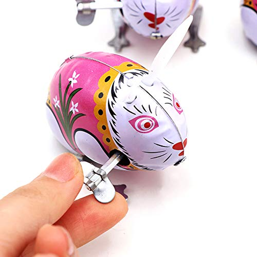 (LeSharp Classic Toys, Classic Tin Wind Up Clockwork Jumping Rabbit Toy Kids Hobby Collectible Gift)