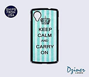 Nexus 5 Case - Keep Calm Carry On Blue Stripes iPhone Cover by Maris's Diary