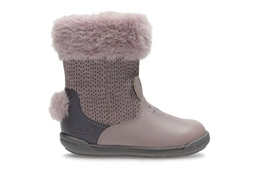 Clarks Iva Time Girl First Boots with Furry Collars and Bunny Tail 4.5 Dusty Pink