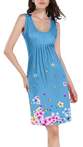 Jaycargogo Robes Casual Femmes Sans Manches Lumière Florale Mini Robe Bleue Robe D'été